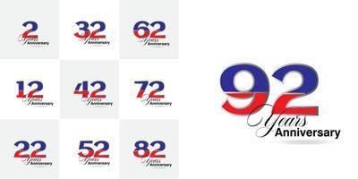conjunto de números de celebração de aniversário de 2, 12, 22, 32, 42, 52, 62, 72, 82, 92 anos vetor