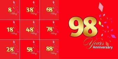 conjunto de números de celebração de aniversário de 8, 18, 28, 38, 48, 58, 68, 78, 88, 98 anos vetor