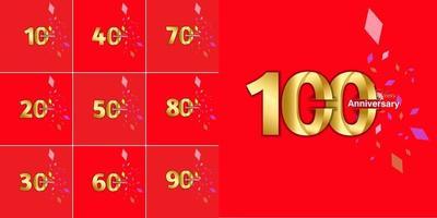 conjunto de números de celebração de aniversário de 10, 20, 30, 40, 50, 60, 70, 80, 90 anos vetor