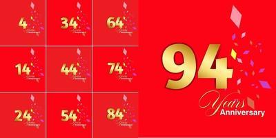 conjunto de números de celebração de aniversário de 4, 14, 24, 34, 44, 54, 64, 74, 84, 94 anos vetor