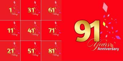 conjunto de números de celebração de aniversário de 1, 11, 21, 31, 41, 51, 61, 71, 81, 91 anos vetor