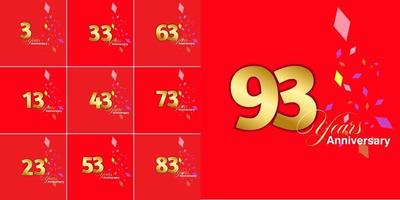 conjunto de números de celebração de aniversário de 3, 13, 23, 33, 43, 53, 63, 73, 83, 93 anos vetor