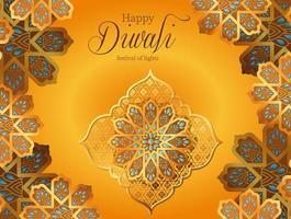 feliz diwali flores de ouro em design de vetor de fundo amarelo