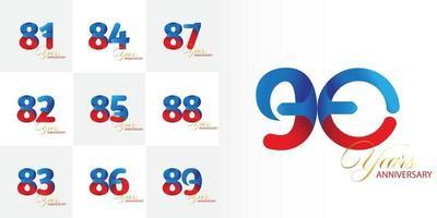 conjunto 81, 82, 83, 84, 85, 86, 87, 88, 89, conjunto de celebração de aniversário de 90 anos vetor