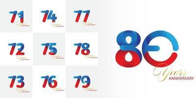 conjunto 71, 72, 73, 74, 75, 76, 77, 78, 79, 80 anos de comemoração de aniversário definido vetor