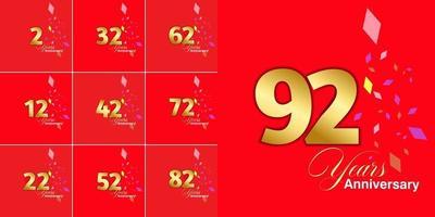 conjunto 2, 12, 22, 32, 42, 52, 62, 72, 82, 92, conjunto de celebração de aniversário de 92 anos vetor