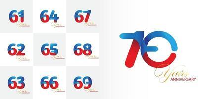 conjunto de números de celebração de aniversário de 61, 62, 63, 64, 65, 66, 67, 68, 69, 70 anos vetor