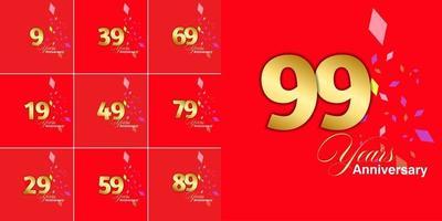 conjunto de celebração de aniversário de 9, 19, 29, 39, 49, 59, 69, 79, 89, 99 anos vetor