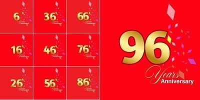 conjunto de números de celebração de aniversário de 6, 16, 26, 36, 46, 56, 66, 76, 86, 96 anos vetor