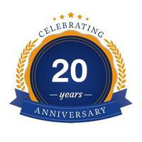 Ilustração de design de modelo de aniversário de 20 anos vetor