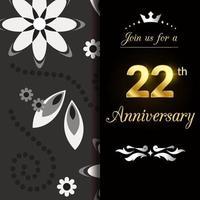 Ilustração de design de logotipo de aniversário de 22 anos vetor