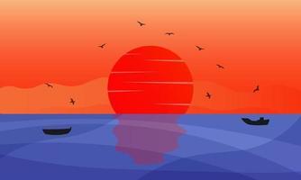 fundo de ilustração do pôr do sol do mar com pássaros e barcos vetor