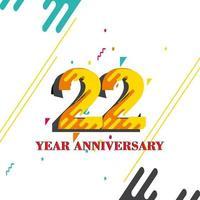 Ilustração de design de modelo de aniversário de 22 anos vetor