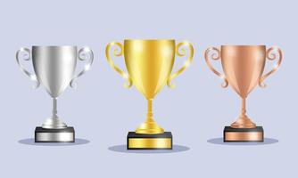 ilustração de conjunto de troféus de prêmios vetor
