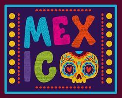 letras do México com caveira com moldura colorida vetor