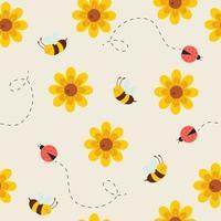 padrão sem emenda com abelhas fofas, joaninhas e flores vetor
