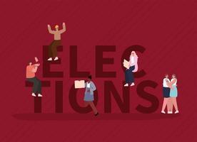mulheres e homens com faixas de voto para o dia das eleições vetor