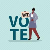 mulher negra com faixa de voto para o dia das eleições vetor