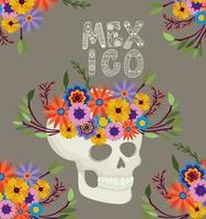 caveira com flores e letras do México vetor