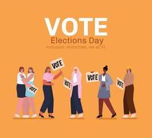 mulheres com design de vetores de banners de votação