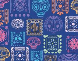 fundo azul mexicano com caveiras e flores. vetor