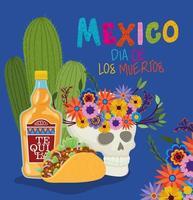 caveira, tequila e taco para a celebração do dia de los muertos vetor