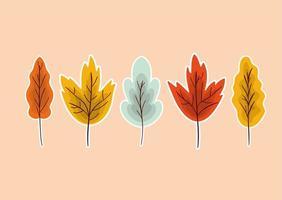 folha de outono set vector design