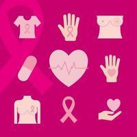conjunto de ícones de conscientização do câncer de mama vetor