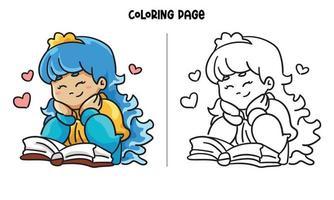 Princesinha fofa lendo um livro com uma página sorridente para colorir vetor
