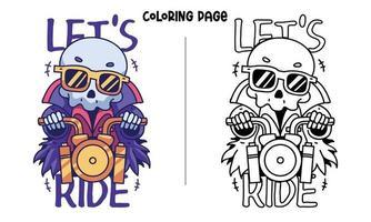 página para colorir de caveira em motocicleta dourada vetor