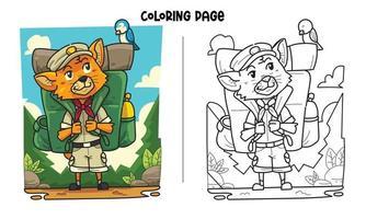 Raposa viajante com uma página para colorir de passarinho vetor