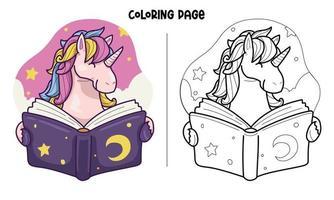 unicórnio lendo uma página para colorir de livro