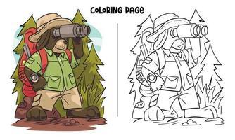página para colorir de cachorro assistindo através de binóculos na selva vetor