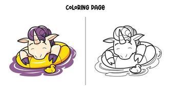 unicórnio flutuando na página para colorir de água vetor