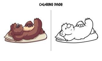 página para colorir de coala chillin na cama vetor