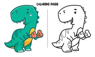 página para colorir de tiranossauro, o boxeador