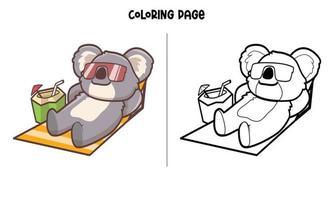 página para colorir de coala tomando sol e bebendo água de coco vetor
