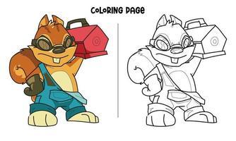 senhor. página para colorir do esquilo do mecânico vetor