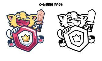 página para colorir do cavaleiro gato com escudo vetor