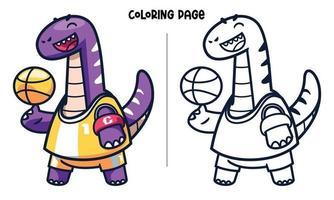 página para colorir de capitão braquiossauro fazendo malabarismo de basquete vetor
