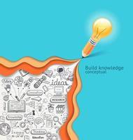 lâmpada no lápis, escrevendo o texto de ideias. ilustração vetorial vetor
