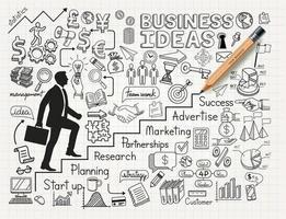 ideia de negócio doodles conjunto de ícones. desenho empresário subindo escadas até o topo. estilo de ilustração vetorial. vetor