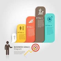 objetivos de negócios com balão. ilustrações vetoriais. vetor