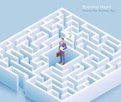 projeto conceitual de labirinto de negócios. empresário parado no labirinto e pensando em encontrar uma saída para ilustração vetorial.