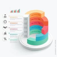 modelo de design de infográficos de negócios. ilustração vetorial. pode ser usado para layout de fluxo de trabalho, diagrama, opções de número, opções de inicialização, web design vetor
