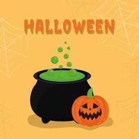 abóbora de halloween com desenho vetorial de caldeirão de bruxa vetor