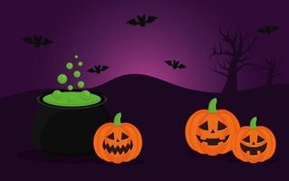 abóboras de halloween com desenho vetorial de caldeirão de bruxa e morcegos vetor