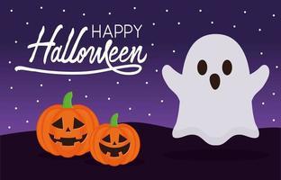 fantasma de halloween e abóboras com desenho vetorial de morcegos vetor