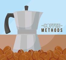 métodos de café com design de vetor de chaleira e feijão