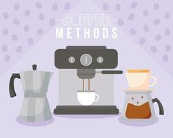 métodos de café com xícara de máquina, chaleira e design de vetor de pote